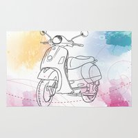 vespa Area & Throw Rugs featuring Vespa by Cary Fdz