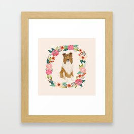rough collie floral wreath dog breed pet portrait pure breed dog lovers Framed Art Print