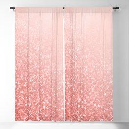 Rose Gold Sparkles on Pretty Blush Pink V Blackout Curtain