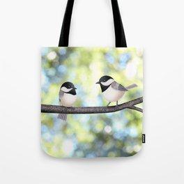 2 black-capped chickadees - bokeh Tote Bag