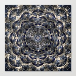 Silverstar Mandalaflower on navy blue jeans Canvas Print