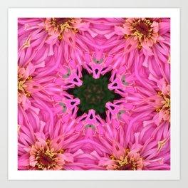 Pink Zinnia Kaleidoscope Mandala Art Print