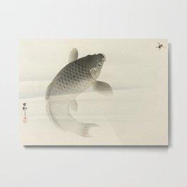 Fish chasing fly - Vintage Japanese Woodblock Print Art Metal Print