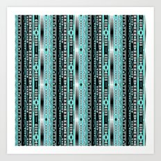 Abstract ethnic pattern in turquoise , black and white . Art Print