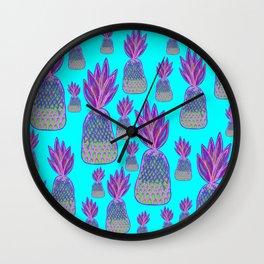 Aqua Pineapple Parade - Neon Pink and Green Pineapples Wall Clock