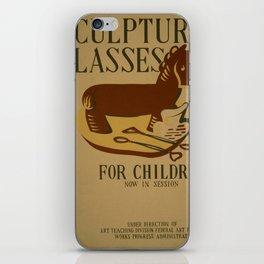 Vintage poster - Sculpture Classes for Children iPhone Skin