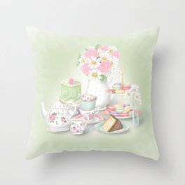 Tea Party Dessert Setting Throw Pillow