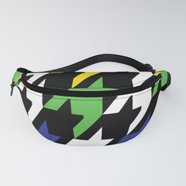 Jumbo Scale Masculine Colored Houndstooth Pattern Fanny Pack