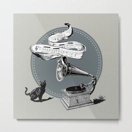 The Cat and the Song Cat (black and white) Metal Print