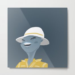 Lady with a white hat Metal Print