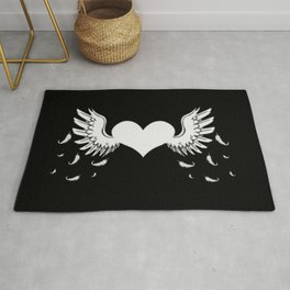 winged heart white, romantic, valentines day Rug