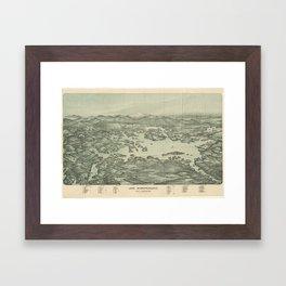 Vintage Pictorial Map of Lake Winnipesaukee (1903) Framed Art Print