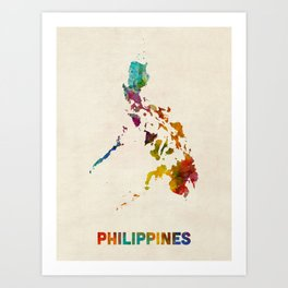 Philippines Watercolor Map Art Print