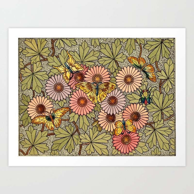 Flower Butterfly Cubism Mosaic Art Print by Nexart PRN9001734