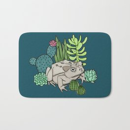 Toad with Succulents - Dark Turquoise Bath Mat
