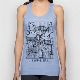 KANSAS CITY MISSOURI BLACK CITY STREET MAP ART Unisex Tank Top