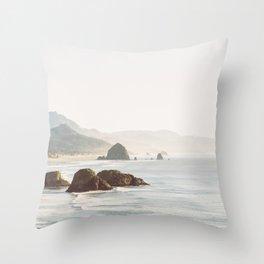 overlooking cannon beach Throw Pillow