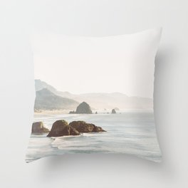 overlooking cannon beach Throw Pillow