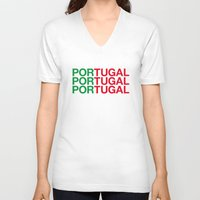 portugal V-neck T-shirts featuring PORTUGAL by eyesblau