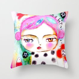 Dream a bit...every day! pink hair girl fish flowers Throw Pillow