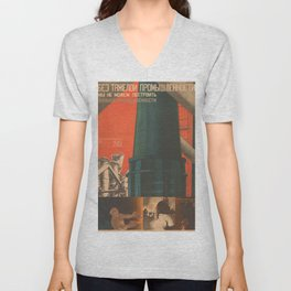 Soviet Propaganda Poster - There is No Industry without Heavy Industry (1930) Unisex V-Neck