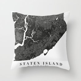 Staten Island New York Minimal Black Mono Street Map  Throw Pillow