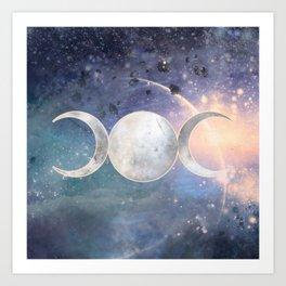 Heavenly Universe Triple Moon Goddess Art Print