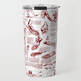 Da Vinci's Anatomy Sketchbook // Dark Red Travel Mug