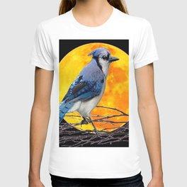 BLUE JAY & GOLDEN MOON LIGHT ABSTRACT T-shirt
