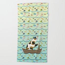 Captain Cat in yellow fade Beach Towel