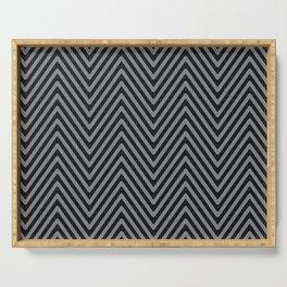 Jumbo Scale Black and Grey Herringbone Pattern Serving Tray
