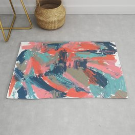 Alyssa - a bright abstract painting done with palette knife in blues, grey, and pink Rug