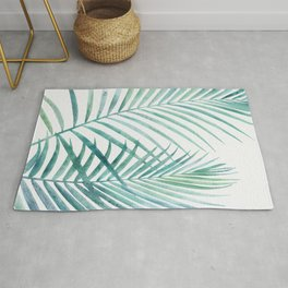 Twin Palm Fronds - Teal Rug