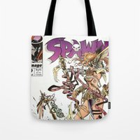 spawn Tote Bags featuring Spawn 9 cover by Mr D's Abstract Adventures