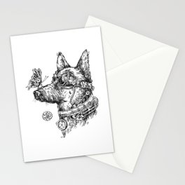 Steampunk Dog T-Shirt Butterfly on Nose German Shepherd Stationery Cards