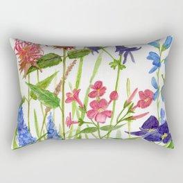 Garden Flowers Botanical Floral Watercolor on Paper Rectangular Pillow