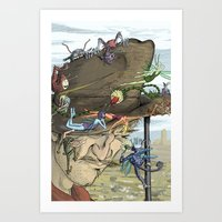 pixies Art Prints featuring Cowboys & Pixies by David Comito