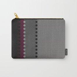 Modern Burgundy Grey Black Stripe Dot Pattern Carry-All Pouch