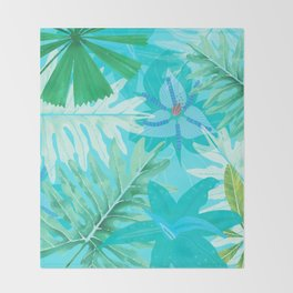 My blue abstract Aloha Tropical Flower Jungle Garden Throw Blanket