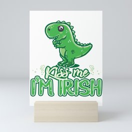 Funny St Patricks day dino print - perfect outfit Mini Art Print