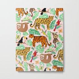 Wild And Wonderful Jungle Friends - Blush Pink Background Metal Print