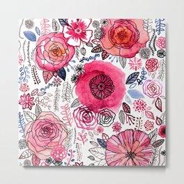 Pink Floral Mix Metal Print