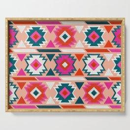 Kilim Abundance Pattern  - Blush & Teal Palette Serving Tray