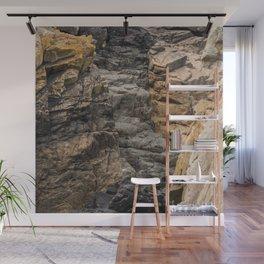 Bretagne - black rock formations between brown rock Wall Mural