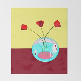 Three Tulips in a Vase Throw Blanket