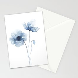 Blue Watercolor Poppies Stationery Cards