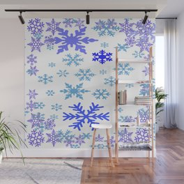 BLUE & PURPLE WINTER SNOWFLAKES ART ABSTRACT Wall Mural