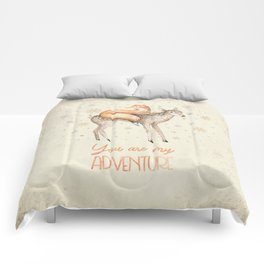 You are my adventure- fox and deer in winter- merry christmas Comforters