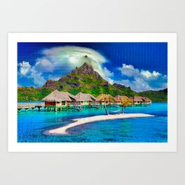 Beautiful Beach Cabanas Art Print