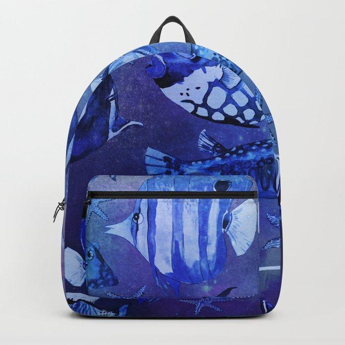 Watercolor fish pattern dark blue Backpack
